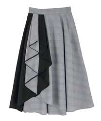 Bicolor frilled skirt(Black-Free)