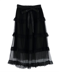 Dot tulle tiered skirt(Black-Free)