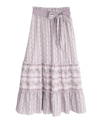 Stripe flower pattern skirt(Pale pink-Free)