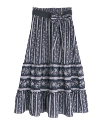Stripe flower pattern skirt(Navy-Free)
