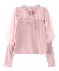 Fluffy puff sleeve pullover(Pale pink-Free)
