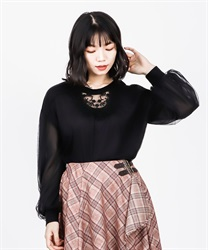 【2Buy10%OFF】Lace-design cut pullover(Black-Free)