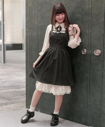 【2Buy20%OFF】Apron-style jumper skirt(Black-Free)