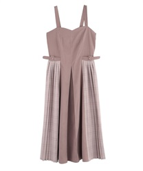 Side Plaid Pleated Dress(Pale pink-Free)