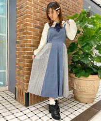 Side Plaid Pleated Dress(Saxe blue-Free)