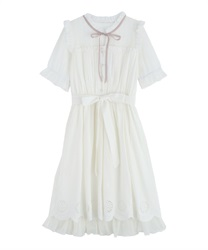 Dress with embroidered hem(White-Free)