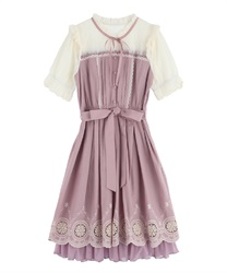 Dress with embroidered hem(DarkPink-Free)