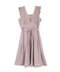 Tuck design non-sleeve dress(Pale pink-Free)