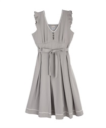 Tuck design non-sleeve dress(Grey-Free)
