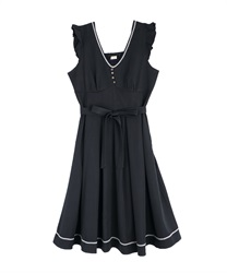 Tuck design non-sleeve dress(Navy-Free)