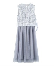【MAX70%OFF】Lace x tulle dress(Grey-Free)