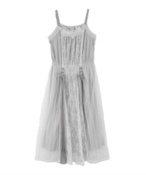 Lace and Tulle Cami One-piece(Grey-Free)
