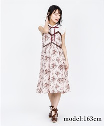 【2Buy10%OFF】Rose Pattern Sleeveless Dress(Pale pink-Free)