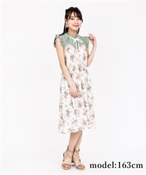 【2Buy10%OFF】Rose Pattern Sleeveless Dress