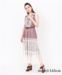 【2Buy10%OFF】Back Lace Sleeveless Dress(Pale pink-Free)