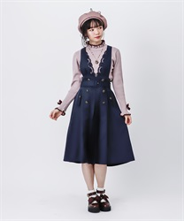 Trench design jumper skirt(Navy-Free)