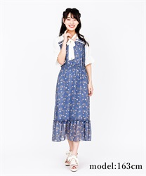 【2Buy10%OFF】Choker ribbon floral dress(Blue-Free)