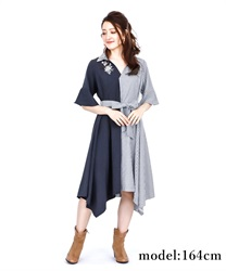 Rose Embroidery Bicolor Dress(Navy-Free)