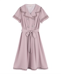 Double Button Sailor Dress(Pale pink-Free)
