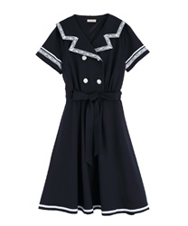 Double Button Sailor Dress(Navy-Free)