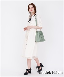 【2Buy10%OFF】Blouse Dress with Brooch(Ecru-Free)