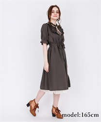 【2Buy10%OFF】Blouse Dress with Brooch(Brown-Free)