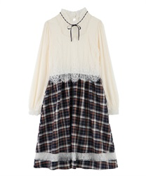 Lace × check dress(Navy-Free)