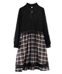 Lace × check dress(Black-Free)