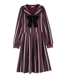"Striped Sailor Collar Dress with ""Removable Ribbon""(Wine-Free)"