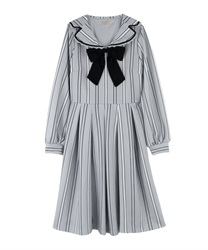 "Striped Sailor Collar Dress with ""Removable Ribbon""(Grey-Free)"