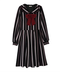 "Striped Sailor Collar Dress with ""Removable Ribbon""(Black-Free)"