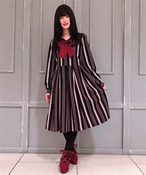 "Striped Sailor Collar Dress with ""Removable Ribbon"""