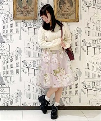 Knit × Floral Docking Dress(Ecru-Free)