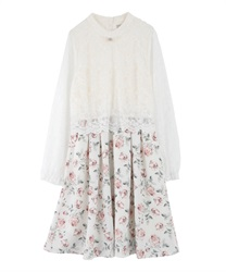 Lace × Floral Docking Dress(Ecru-Free)