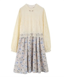 Lace × Floral Docking Dress(Beige-Free)