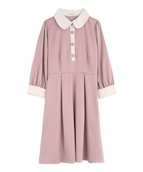 【2Buy10%OFF】Bicolor dress(DarkPink-Free)