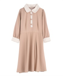 【2Buy10%OFF】Bicolor dress(Beige-Free)