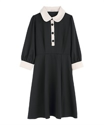 【2Buy10%OFF】Bicolor dress(Black-Free)
