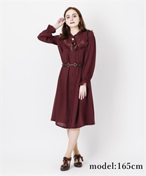 Long sleeve blouse dress with brooch(Wine-Free)