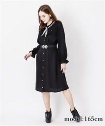 Long sleeve blouse dress with brooch(Black-Free)