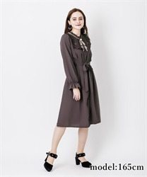 Long sleeve blouse dress with brooch(Mocha-Free)