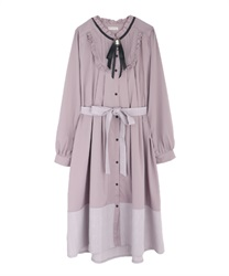 Bicolor dress with brooch(Lavender-Free)