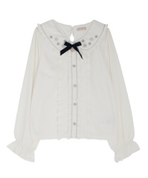 Snow crystal embroidery blouse(Ecru-Free)