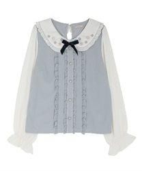 Snow crystal embroidery blouse(Saxe blue-Free)