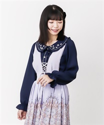 Snow crystal embroidery blouse(Navy-Free)