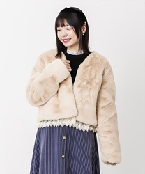 Short fake fur coat(Pale pink-Free)