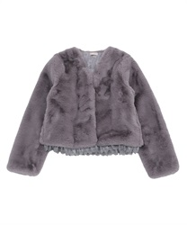 Short fake fur coat(Grey-Free)