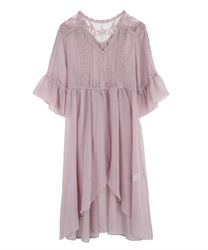 Willow Lace Long Gown(Pale pink-Free)