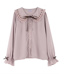 Lacy blouse(Pale pink-Free)