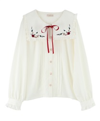 "Fruit Embroidery Sailor Collar Blouse with ""Removable Ribbon""(Ecru-Free)"